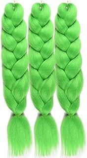 WOME Jumbo Braiding Hair 27Inch Kanekalon Synthetic High Temperature Fiber Crochet Braids Extensions(24Inch,Lime)