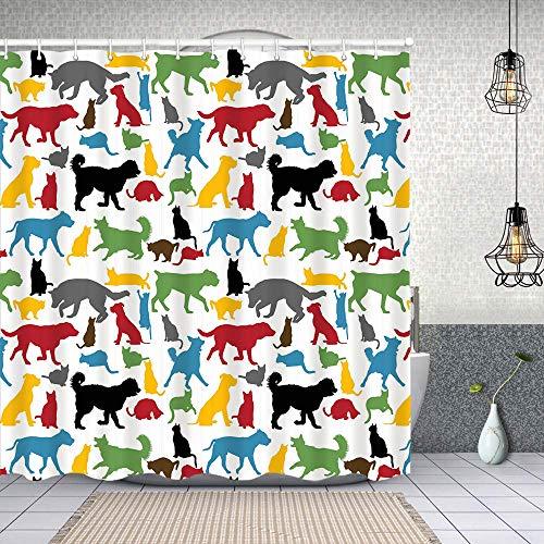 Cortina de Baño con 12 Ganchos,Gatos y Perros Coloridos Animales Mascotas domésticas Personajes caninos de Dibujos Animados,Cortina Ducha Tela Resistente al Agua para baño,bañera 150X180cm