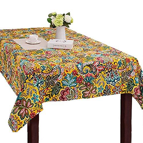 Kunyi Ethnique Americana estilo de época imperméable multi-uso alto de gama de lujo ne se fanent pas lumineuse Belle Table Ronde nappe de salón de tissu tapis de table basse napa (Size : 90x140cm)