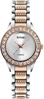 Women Fashion Swarovski Crystal Accented Gold-Tone Stainless Steel Quartz Watch Ladies Waterproof Dress Two-Tone Bangle Bracelet Wristwatches