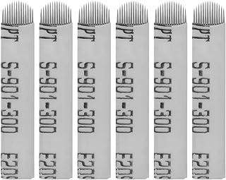 Artibetter 50pcs microblading en forma de u cuchillas agujas de tatuaje de cejas 14 pines (blanco)