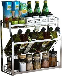 BALLYE Organisateur étagères de Rangement étagère de Cuisine 304 Acier Inoxydable sans poinçon étagère à épices Mural 3 Co...