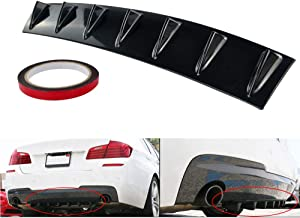 K KARL Universal Rear Diffuser Bumper Guards Rear Bumper Lip ABS with 7 Diffuser Fins (Black, Large)