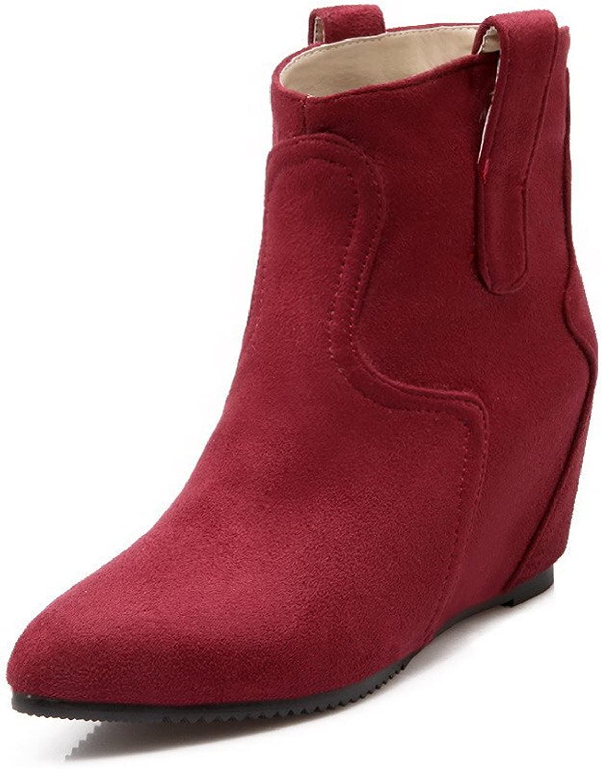 WeiPoot Women's Low-top Pull-on Frosted Kitten-Heels Pointed Closed Toe Boots