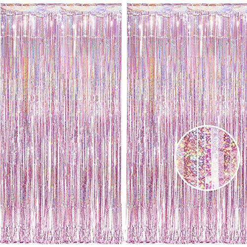 BRAVESHINE Blassrosa Metallische Lametta Vorhänge Hintergrund, Funkeln Vorhängen Dekoration für Geburtstagsfeier Hochzeitsfoto Hintergrund Weihnachten Disco Party (2 Stück,1x2.5m)