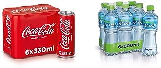 Coca-Cola Original Taste Soft Drink in Can, 330 ml (Pack of 6) + Arwa Drinking Water, 500 ml (Pack of 6)