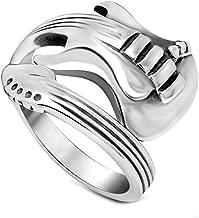 ANAZOZ Stainless Steel Customize Women Rings Silver Guitar Shape Open Rings Wedding Rings Stylish Snake