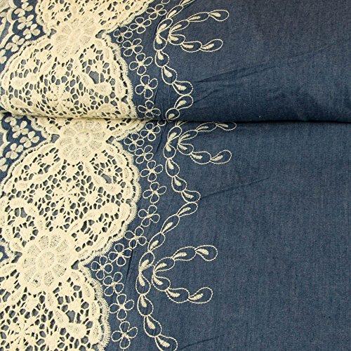 Jeansstoff einseitige Bordüre Spitzenstickerei Modestoffe - Preis gilt für 0,5 Meter -