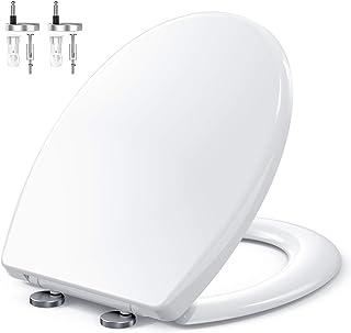 Abattant WC, MUJIUSHI Lunette de Toilette avec Fermeture en Douceur, Frein de Chute, Dégagement Rapide à Un Bouton et Char...