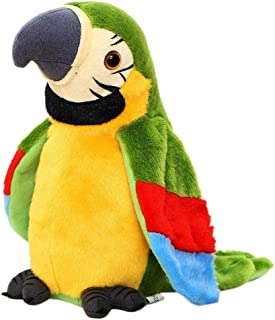 US Blue Robot 793207805881 Cute Electronic Talking Parrot Plush Toy Sound Record Repeat Speaking Toys Kids (Green)