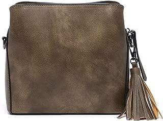 Small Crossbody Purse, Square Bucket Purse Shoulder Bag Handbag With Tassel and Long Adjustable Strap For Women Girl