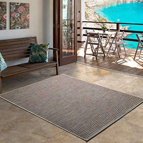 UNIVERSAL Alfombra Indoor-Outdoor Bliss Geometric, 100% Polipropileno, Rojo, 130 x 190 cm