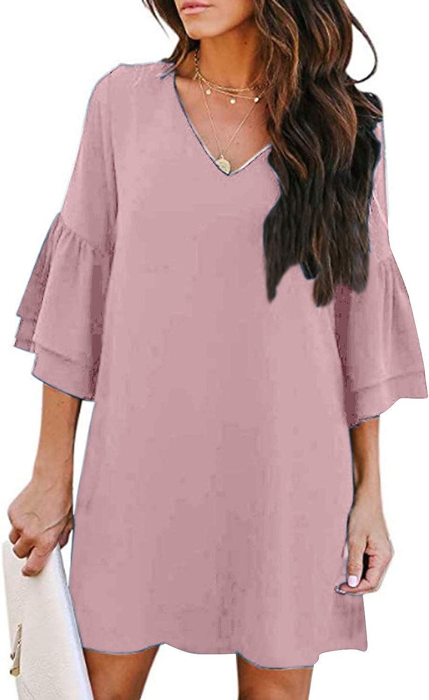 ZANZEA Women's Casual Dresses Sweet & Cute Mini Dress Loose Flowy Swing Shift Dresses