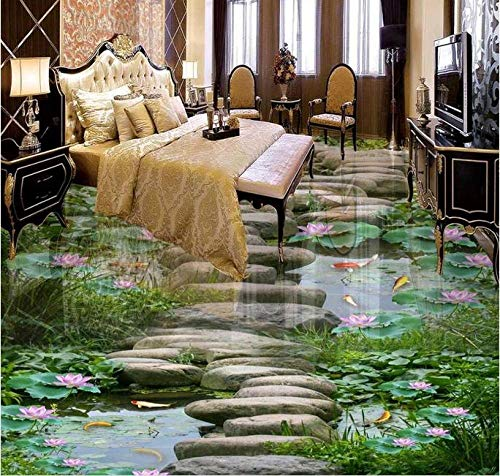 Murales de piso 3d papel tapiz de pvc azulejos de piso 3d personalizados papel tapiz impermeable para baño baldosas de estanque de peces de loto imágenes-430 * 300cm