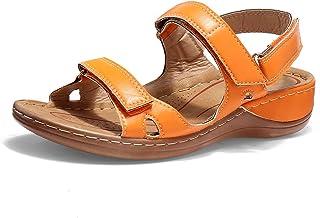 gracosy Chaussures de randonnée Femmes, Sandales en Cuir PU Nu Pieds Mode Chaussures d' été Sport Marche Léger Plage Extér...