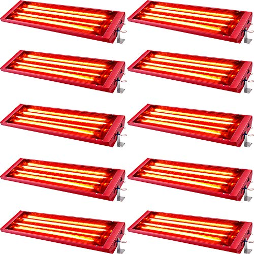 VEVOR Infrared Curing Lamp Infrared Paint Curing Light 10Set 2KW Halogen Spray Baking Booth Heaters 220v Auto Body Heat Lamp Infrared Paint Curing Lamp For Curing lamp Automotive Use