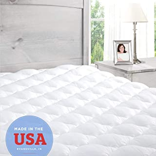 ExceptionalSheets Pillowtop King Mattress Topper with Fitted Skirt – Cooling..