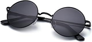 Estilo John Lennon Gafas de Sol Redondo Pegueño Círculo Polarizadas Vintage Metálico de Hipis Montura Resorte a Hombres