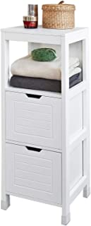 SoBuy® FRG127-W Meuble Colonne Meuble Bas de Salle de Bain Armoire Toilette – 1 étage et 2 tiroirs