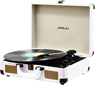 Vinyl Record Player, JORLAI 3-Speed Turntable Record Players Suitcase with Stereo Speaker/ Rechargable Battery/ Vinyl-to-MP3 Recording/ Headphone Jack/ Aux Input/ RCA Line Out – White
