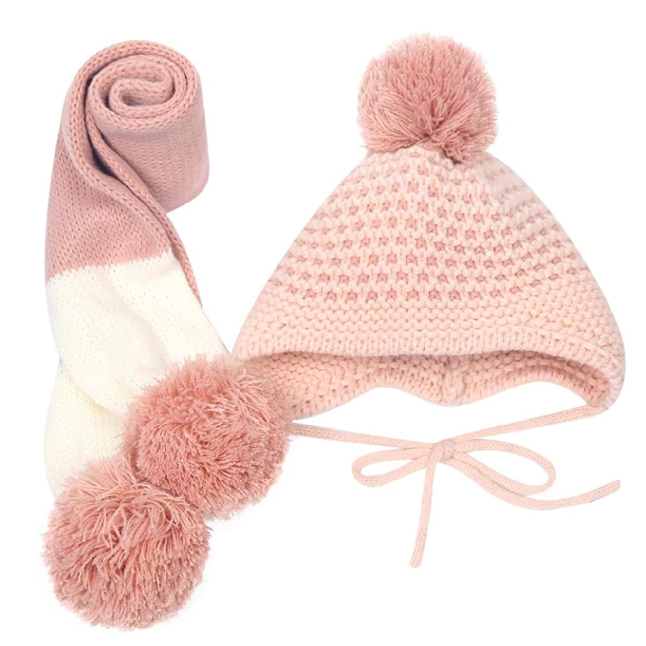 LNGRY 6-12M Baby Kids Girl Boy Winter Warm Cotton Coif Hood Scarf Caps Hats Set
