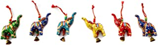 Rastogi Handicrafts Elephant Bell Hanging Layer Set of 6 Home Christmas Hanging Decorative Ornaments Multi Colored Indian Traditional (Mix)