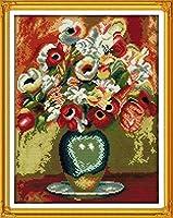 刺繍キット大人用のプリント済みクロスステッチキット美しい花瓶刺繍写真初心者用40x50cmDIYアートクロスステッチキット子供用クリスマスギフト家の装飾、11CT