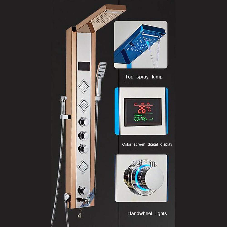 MICHEN Duschsystem, Edelstahl-Duschwand Temperaturregelung Digitalanzeige integrierte Multifunktionsdusche,9006FM