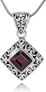 Sterling Silver Filigree Gemstone Square Pendant Necklace w/ 18