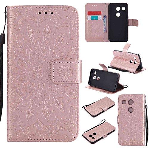 pinlu® PU Leder Tasche Etui Schutzhülle für LG Nexus 5X (5,2 Zoll) Lederhülle Schale Flip Cover Tasche mit Standfunktion Sonnenblume Muster Hülle (Roségold)