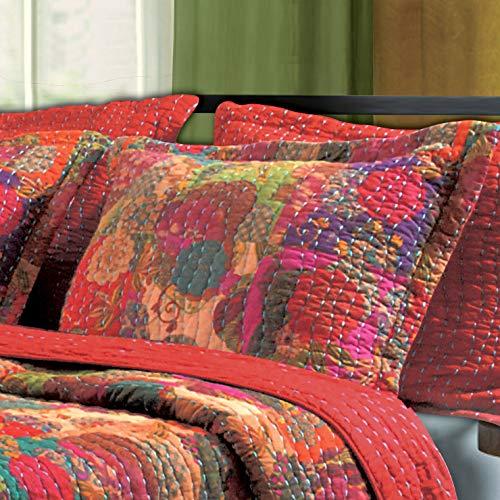 Greenland Home Fashions Set de colección de sobrecama con diseño de Piedras Preciosas (King SHAM), roja Multicolor