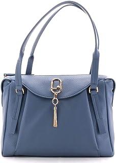 LIU.JO Damen-Tasche aus Kunstleder, Weiß, zwei Griffe mit Reißverschluss und Logo, goldfarben.