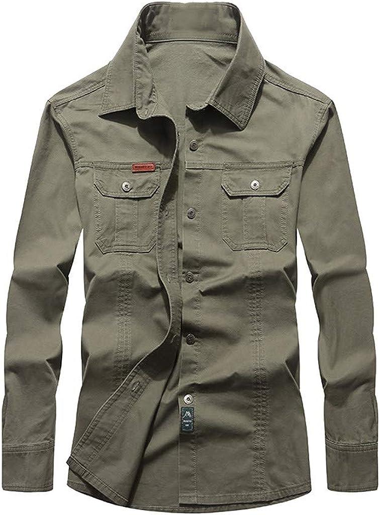 Men's Military Casual Jackets Outerwear Cargo Shirt Lightweight Tactical Coat