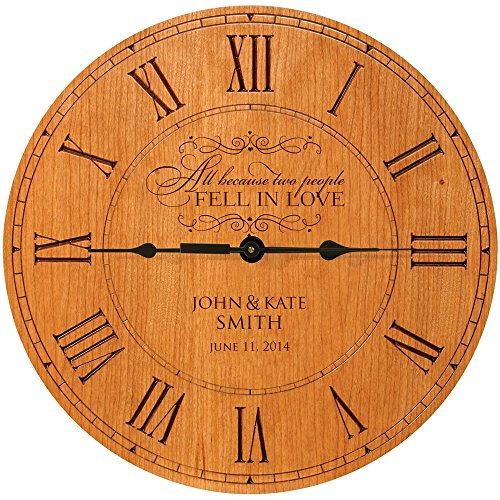 LifeSong Milestones Wedding Wall Clock or Custom Personalized Wedding Anniversary Housewarming Gift All Because Two People Fell in Love (Cherry)