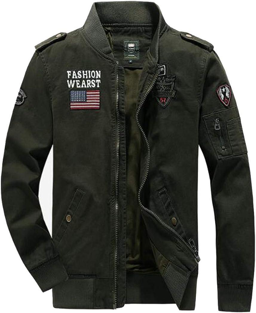 ZIHUAD Utility Jacket Men's Jacket Washed Cotton Jacket Autumn Style Men's Military Workwear Casual Autumn Jacket-A-M