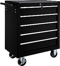 TecTake Carro de herramientas con 5 cajones | con cerradura | con ruedas - disponible en diferentes colores - (Negro | No....