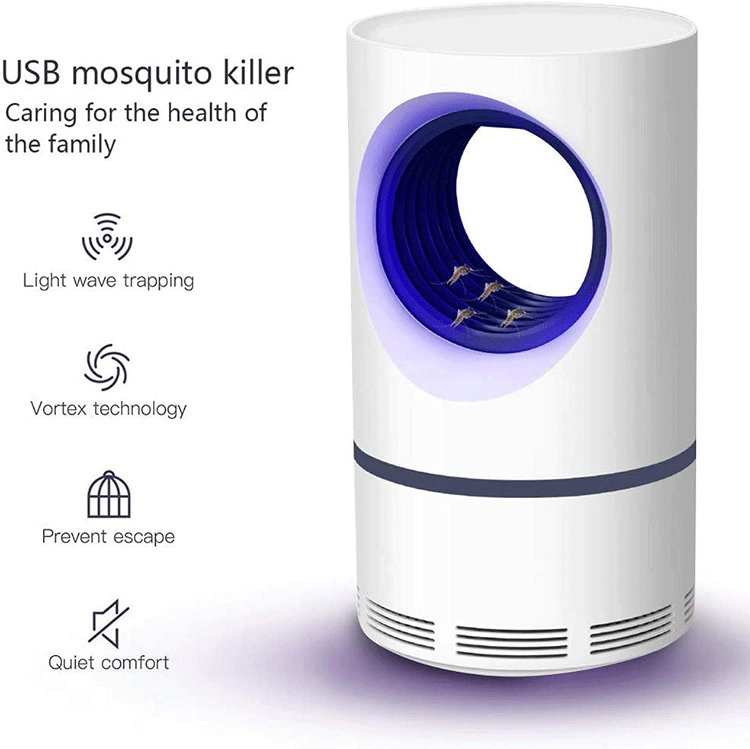 Flying Killer Mosquito Killer, Portable Mute Mosquito Killing Lamp, Indoor Outdoor Insect Killer Electronic LED Ultrapurple Light Photocatalyst Mosquito Trap Killer Home Office,White