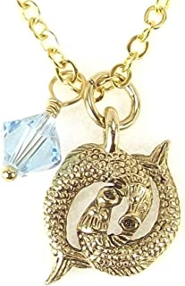 Gold Plated Astrology Zodiac Horoscope Necklace Swarovski Birthstone Crystal Pendant Necklace, 18 Inches, Handmade in USA