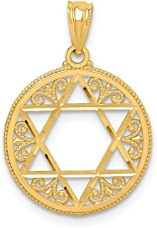 14k Yellow Gold Filigree Jewish Jewelry Star Of David Pendant Charm Necklace Religious Judaica Fine Jewelry Gifts For Women For Her