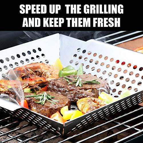 Roveinsia Cesta de parrilla de acero inoxidable resistente, accesorios de parrilla para barbacoa, wok para verduras, camarones, Kabobs, mariscos