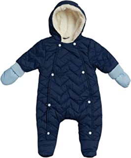 Newborn Baby Boys Quilted Puffer Pram Winter Snowsuit - Fully Sherpa Fur Lined with Hood and Mittens