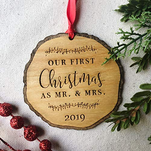 First Christmas as Mr & Mrs Ornament 2020, Rustic 1st Married Christmas Ornament, First Married, Laser Engraved Wooden Ornament, with Red Ribbon and Gift Box