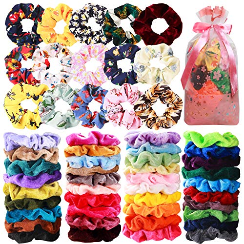 Price comparison product image 54 Pcs Hair Scrunchies 40 Velvet Hair Scrunchies 14 Chiffon Flower Hair Scrunchies Hair Elastic Scrunchy Ties Ropes Scrunchie for Women or Girls Hair Accessories for Christmas New Year Gift