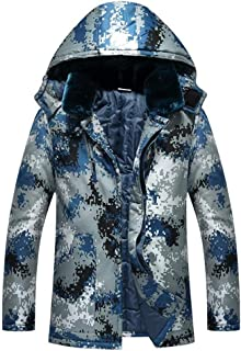F1rst Rate Mens Winter Thick Warm Camouflage Parka Long Thermal Jackets and Coats with Hood