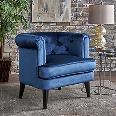Miguel | Mid Century New Velvet Club Chair with Studded Accent | in Cobalt
