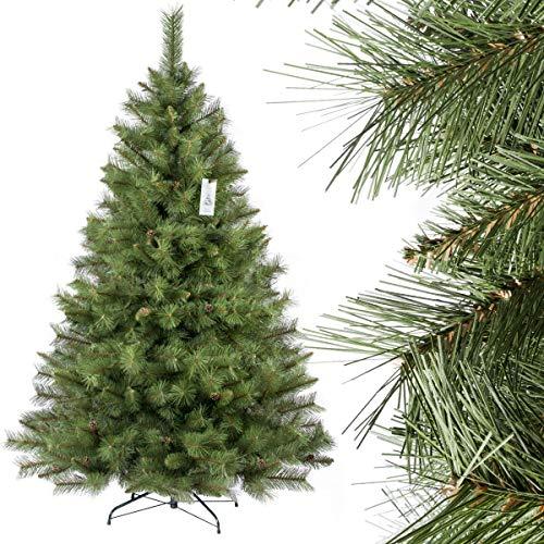 FairyTrees künstlicher Weihnachtsbaum SKANDINAVISCHE Tanne, Material PVC, echten Tannenzapfen, inkl. Metallständer, 180cm, FT16-180