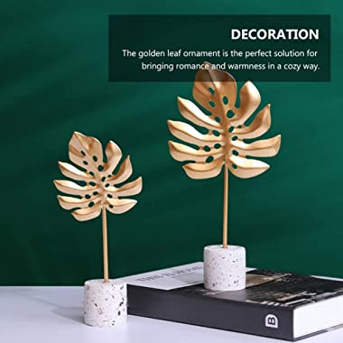 IMIKEYA 2Pcs Metal Iron Leaf Decor Sculpture Feather Statue Home Room Table Decor