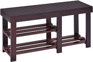 Giantex Wooden Shoe Bench Boot Storage Shelf Organizer Seat Entryway Hallway Espresso (34.2