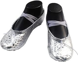 Women Girls Gold Sliver Belly Gymnastic Ballet Dance Pointe Sequins Dance Shoes