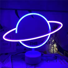 QiaoFei Niebiesko-różowa LED planeta neonowe światło z podstawą do trzymania dekoracyjne znaki dekoracja ścienna, bateria ...